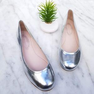 Elie Tahari Regional Ballet Flats Silver Leather